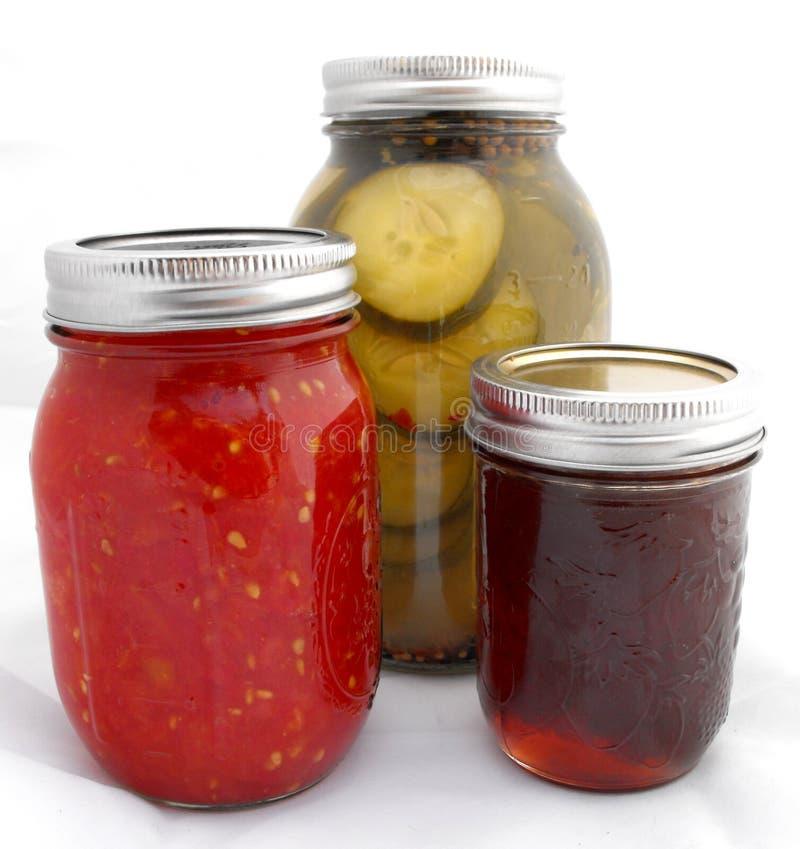 罐头食品瓶子泥工 库存图片