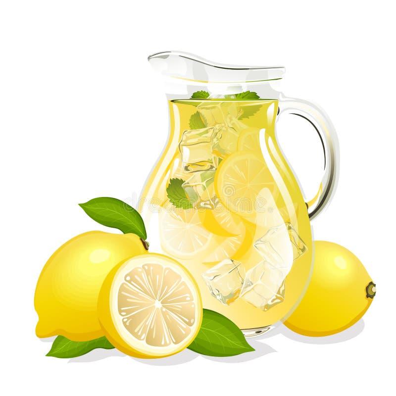 水罐新鲜的柠檬水 皇族释放例证