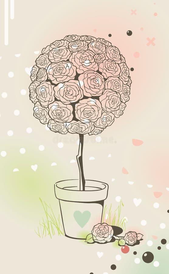 罐玫瑰色结构树 库存例证