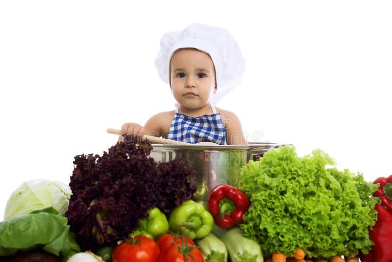 罐的小小厨师 库存照片