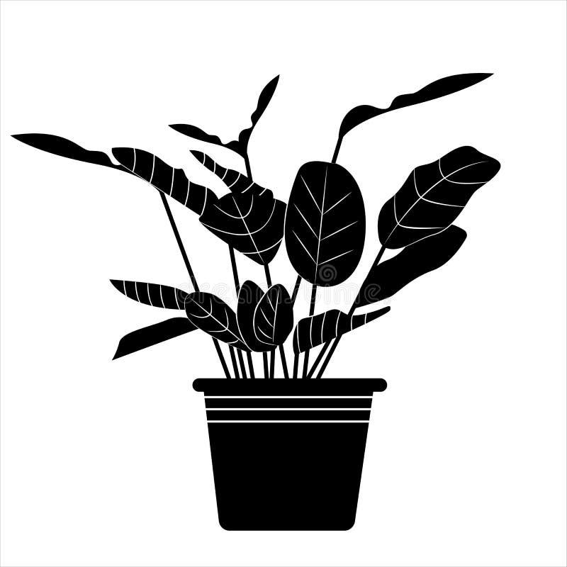 罐的植物 在简单的样式的传染媒介例证 库存例证