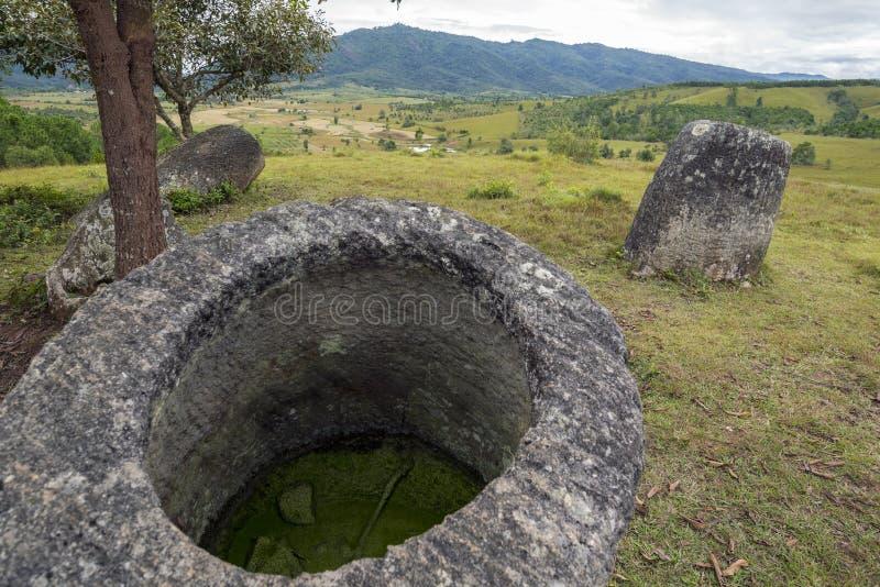 水罐老挝谷 免版税图库摄影