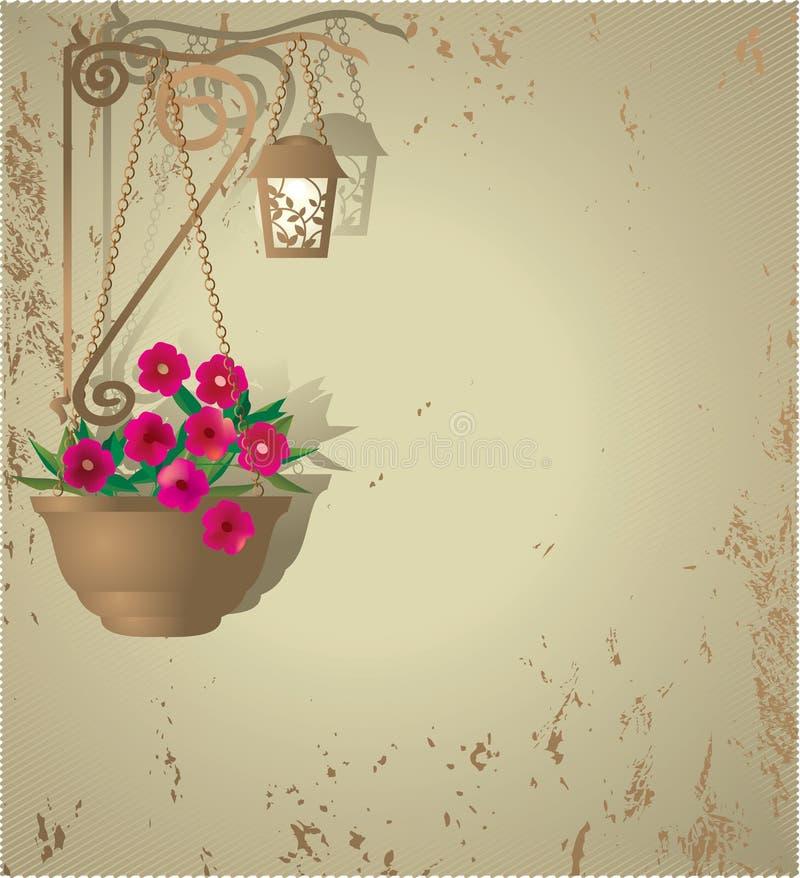 罐花和一个灯笼在棕色墙壁背景 库存图片