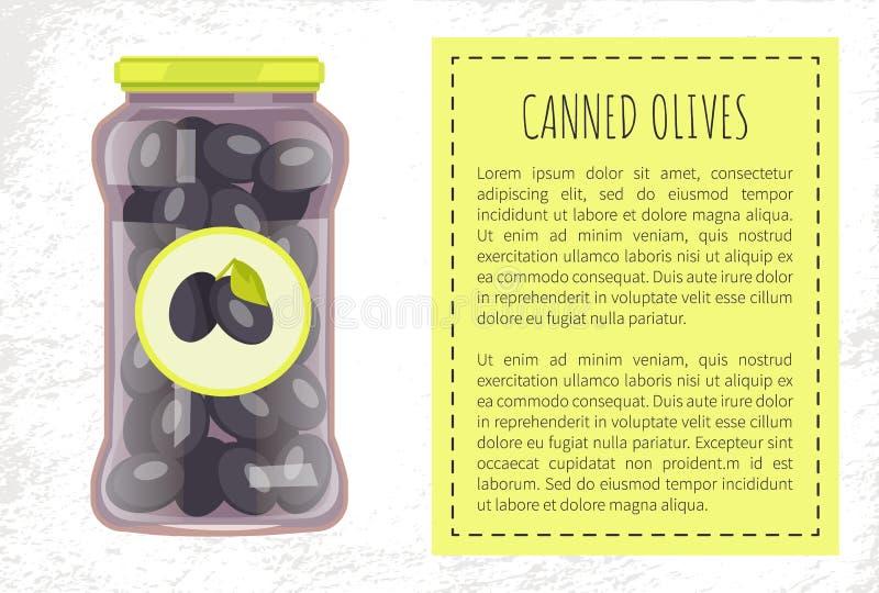罐装橄榄保存了在玻璃瓶子传染媒介的食物 皇族释放例证