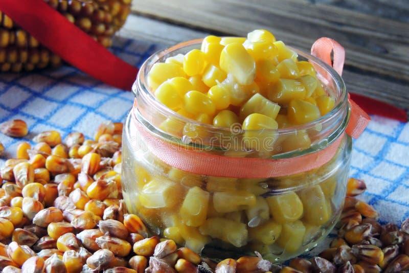 罐装玉米和湿玉米 免版税图库摄影