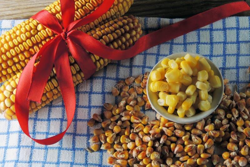 罐装玉米和湿玉米 免版税库存图片