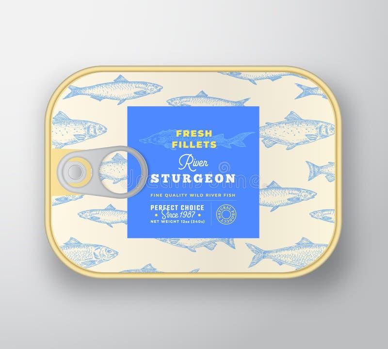 罐装鱼标记模板 有标签盖子的摘要传染媒介铝制容器 E r 库存例证