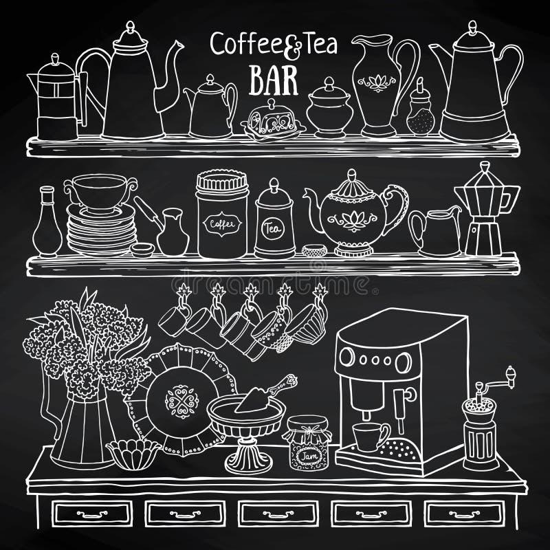 罐,杯子,咖啡机器剪影在黑板的碗柜 皇族释放例证