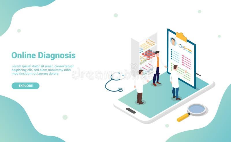网上与医生的诊断健康医疗会诊有智能手机的和网站模板的等量现代平的样式 皇族释放例证