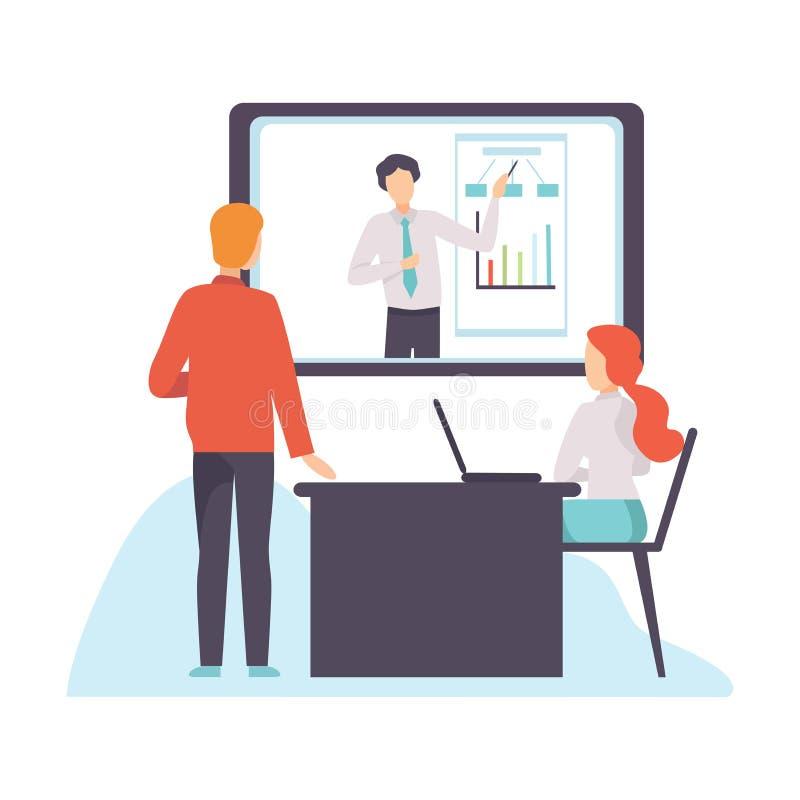 网上业务会议,介绍,专业培训,Webinar,沟通通过互联网传染媒介的人们 皇族释放例证