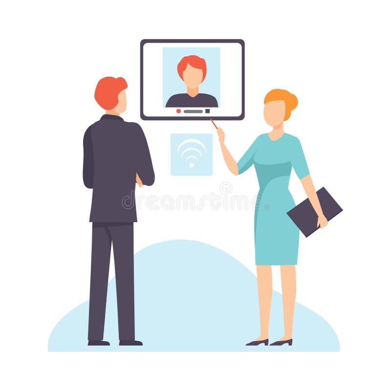 网上业务会议,在网上谈话的买卖人,沟通通过互联网传染媒介例证的人们 库存例证
