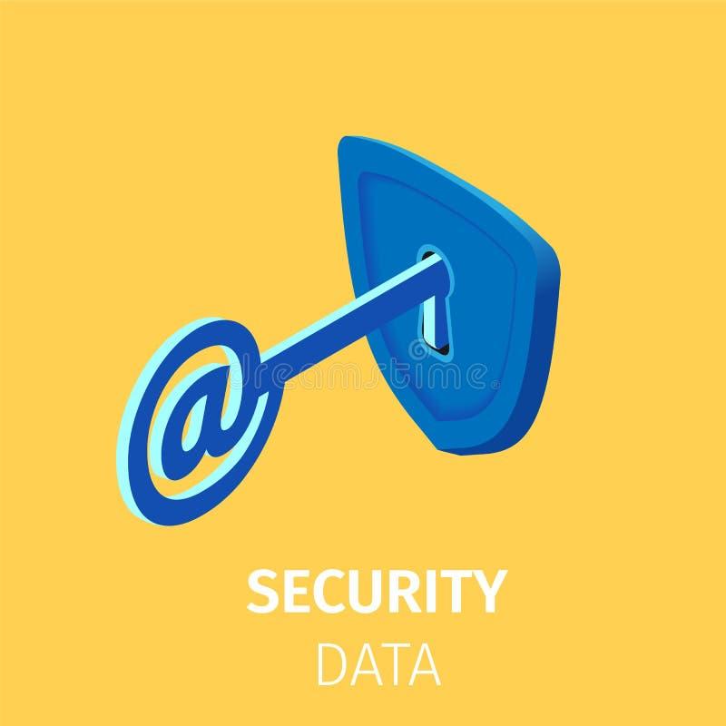 网上互联网安全 与在签到锁的钥匙 向量例证