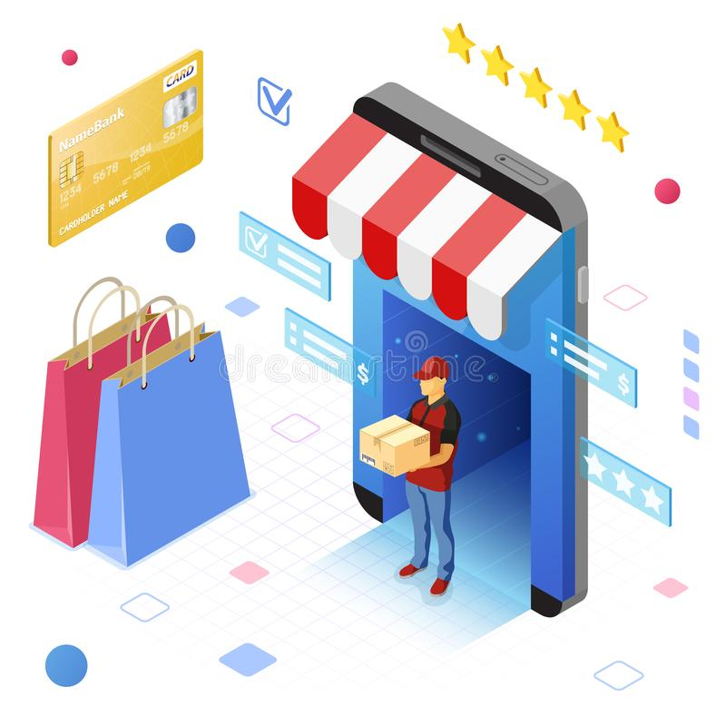 网上互联网购物交付等量概念 皇族释放例证