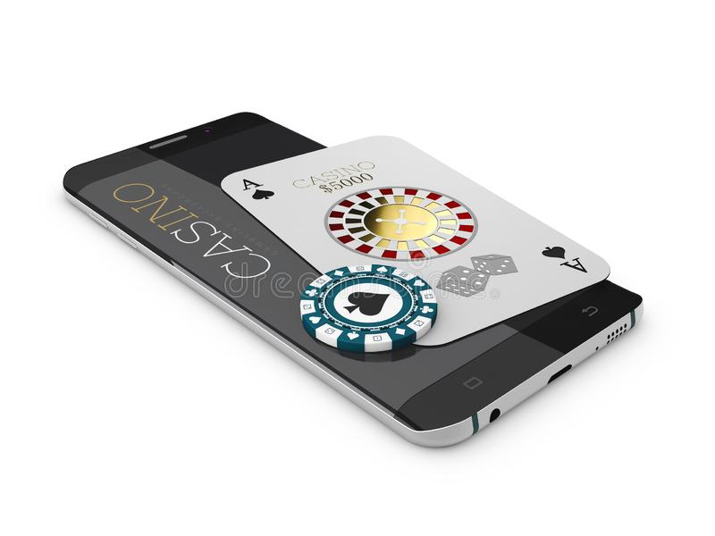 网上互联网赌博娱乐场应用程序、啤牌卡片和芯片在电话,赌场比赛 3d例证 库存例证