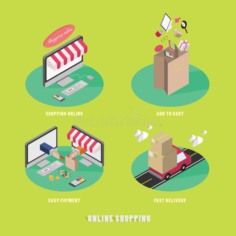 网上互联网购物的商业运作概念 皇族释放例证