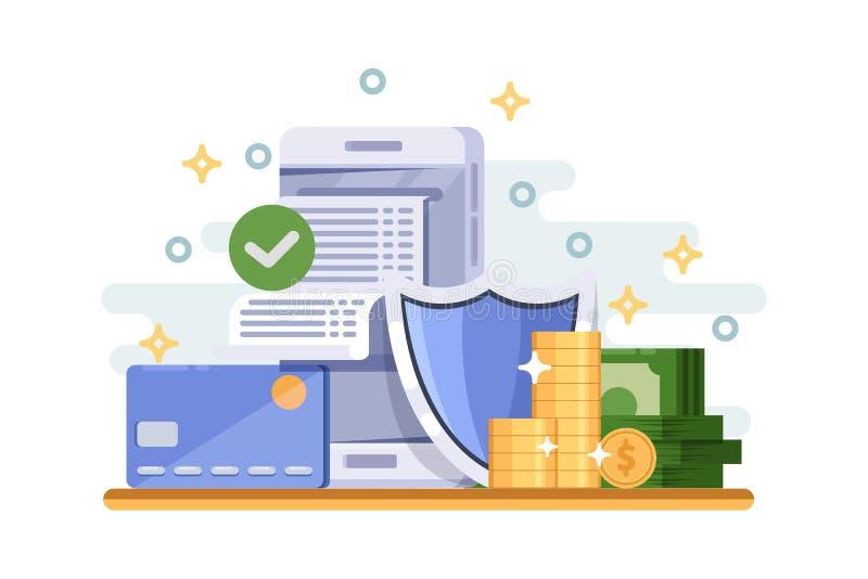 网上付款保护和财务数据安全概念 v 皇族释放例证