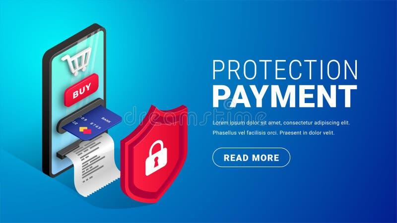 网上付款保护概念按钮 向量例证