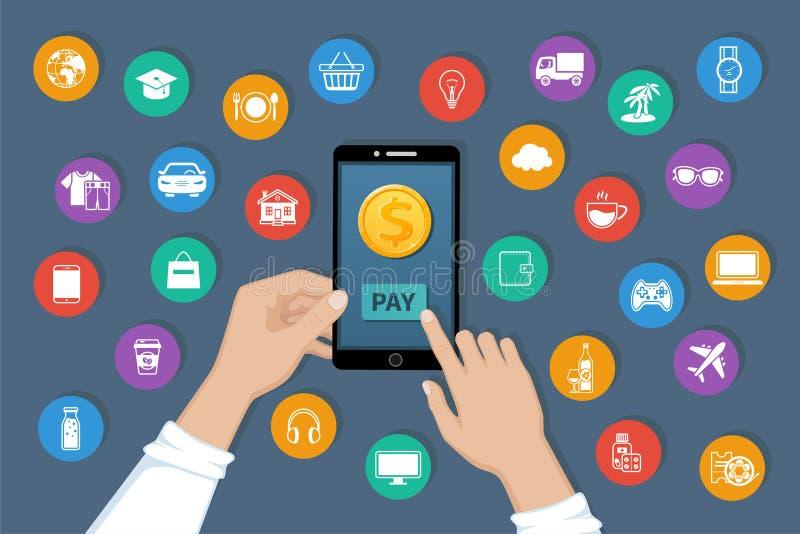网上付款 支付商品和服务由流动app服务 付款服务在电话屏幕上的国际性组织调动 库存例证