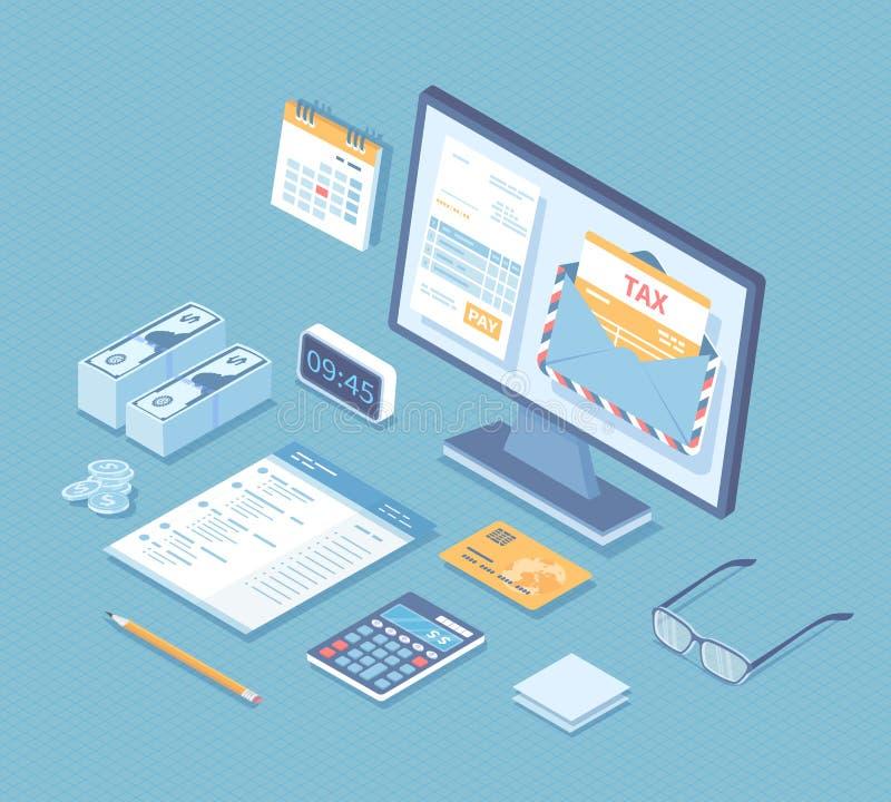 网上付税,簿记,会计 在信封的报税表,在显示器屏幕文件的帐户,日历,计算器, 向量例证