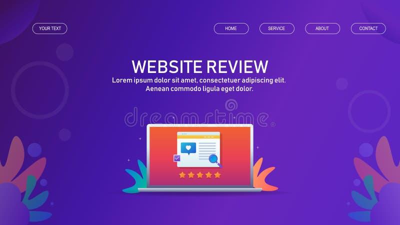 网上企业和网站回顾,用户额定值,评估,星,在膝上型计算机的网站陈列 库存例证