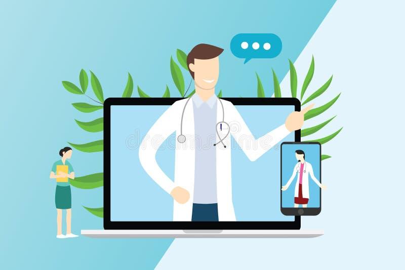 网上医生为咨询的技术服务与膝上型计算机和智能手机应用程序-传染媒介 库存例证