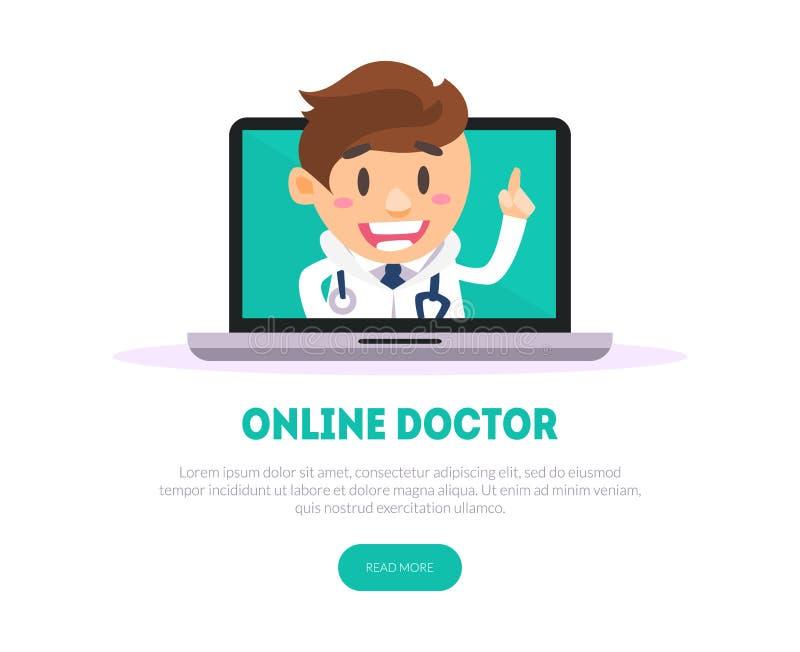 网上医生Banner Template,网上医学,医疗支持服务传染媒介例证 皇族释放例证