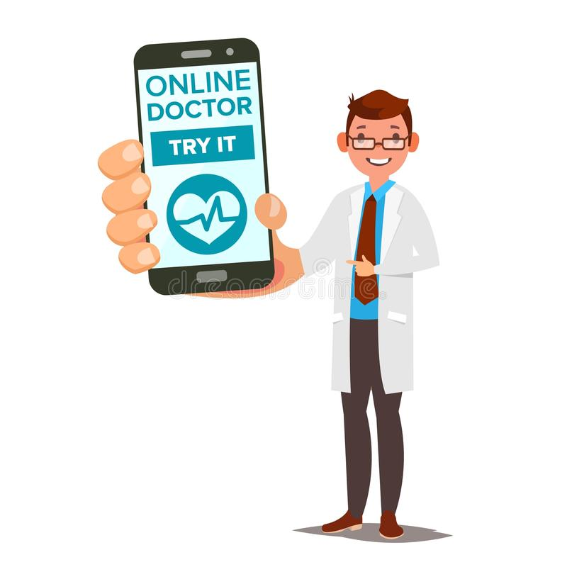 网上医生Mobile Service Vector 拿着有网上咨询的人智能手机在屏幕上 医学支持 向量例证