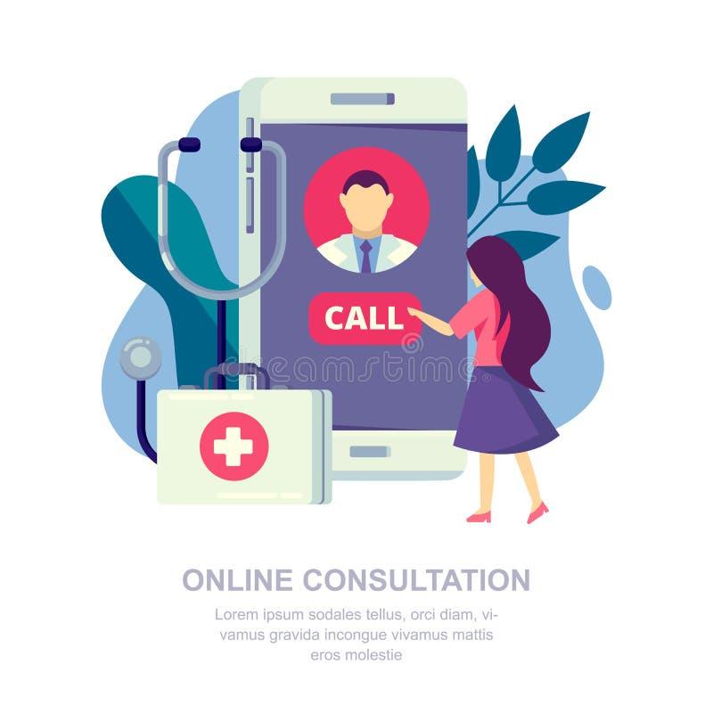 网上医疗会诊,流动应用程序概念 患者呼叫医生 传染媒介平的例证 皇族释放例证