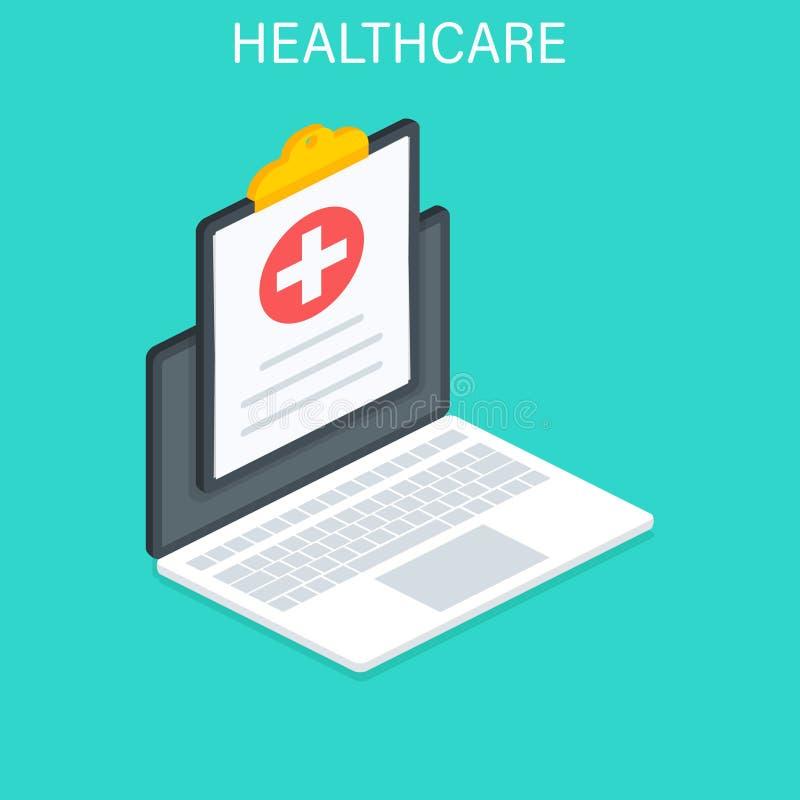网上医疗保健和医疗会诊 是概念现有量有医疗保健帮助延迟药片 平的等量传染媒介例证 库存例证