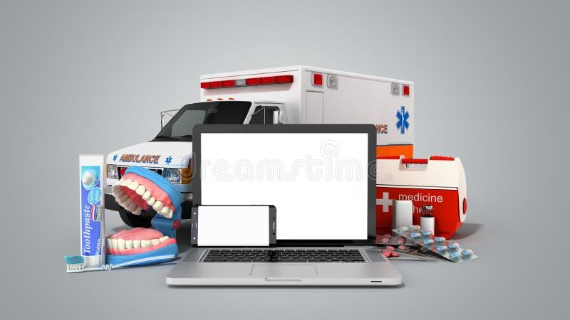 网上卫生保健膝上型计算机和电话的现代概念与 皇族释放例证