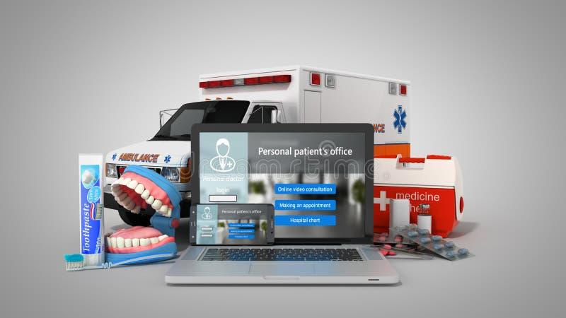 网上卫生保健膝上型计算机和电话的现代概念与 库存例证