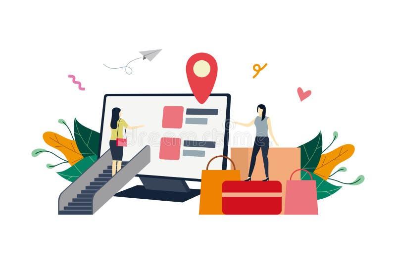 网上商店在电脑屏幕上,电子商务市场平面图示小人概念向量模板,适合 向量例证