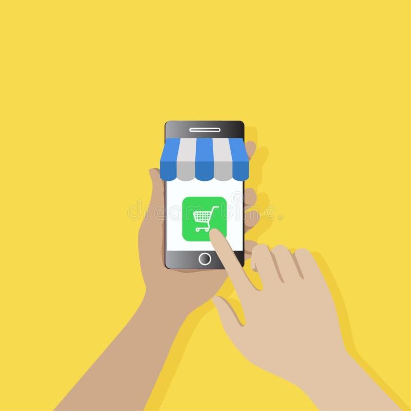 网上商店app屏幕机动性 与人的网上购物概念 向量例证
