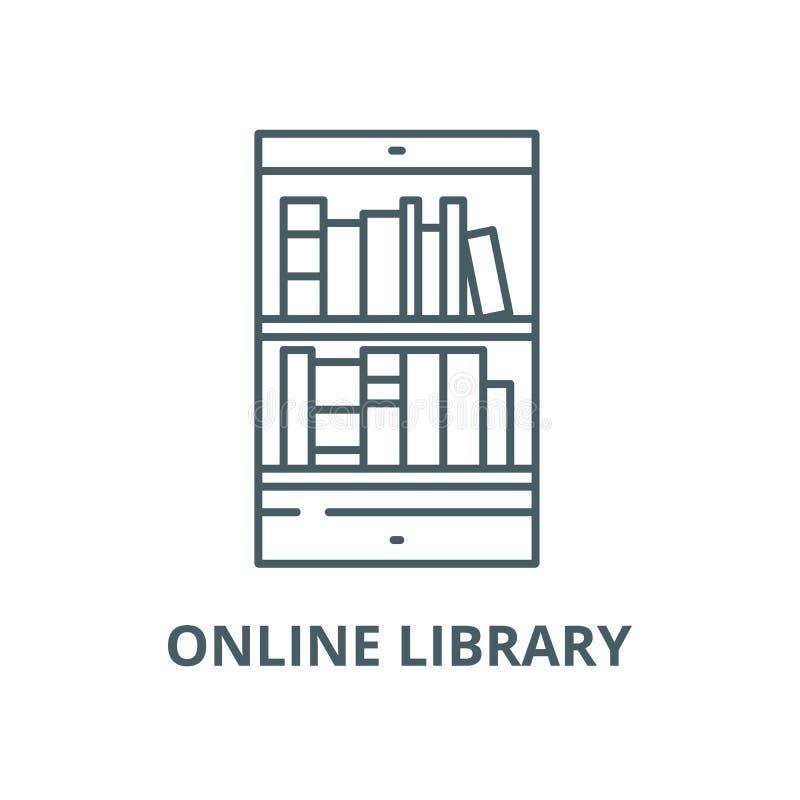 网上图书馆传染媒介线象,线性概念,概述标志,标志 库存例证