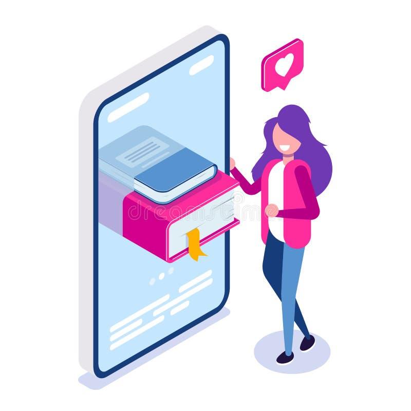 网上图书馆概念 在您的电话或片剂的书 读的少女爱 能为网横幅,infographics使用 向量例证