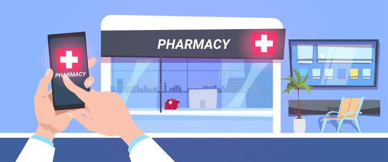 网上在现代药房商店背景的药房商店服务手举行巧妙的电话 向量例证