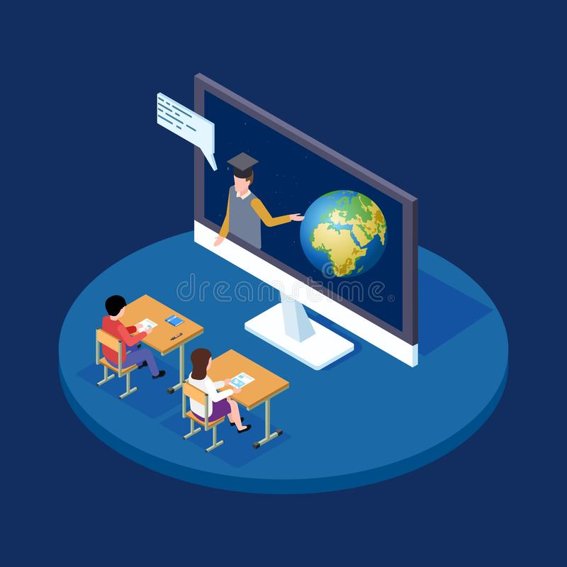 网上天文教训等量传染媒介概念 遥远的老师告诉关于地球和空间例证的孩子 向量例证