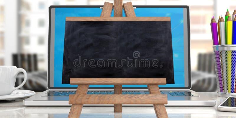 网上学习的概念 在膝上型计算机的黑板反对迷离办公室背景,拷贝空间 向量例证