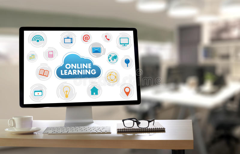 网上学习的连通性技术教练的网上技能T 库存例证