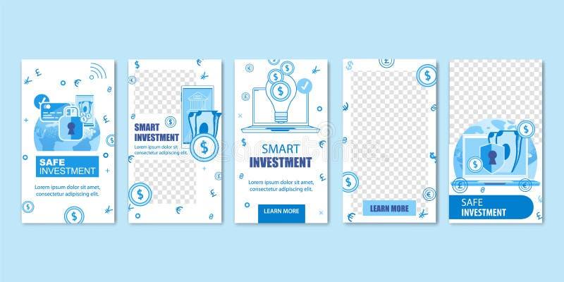网上安全聪明的投资,金钱现金,硬币 向量例证
