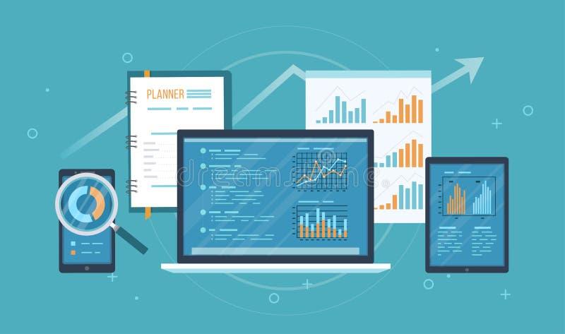 网上审计,研究,分析概念 网和流动服务 财政报告,在膝上型计算机的屏幕,电话上的图图表 向量例证