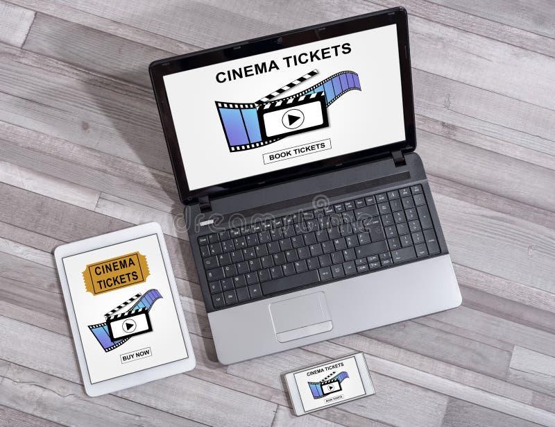 网上戏院卖票在不同的设备的售票概念 图库摄影