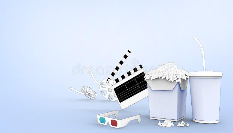 网上戏院艺术电影院观看的图画用玉米花、3d玻璃和电影工业在淡色蓝色背景 库存例证