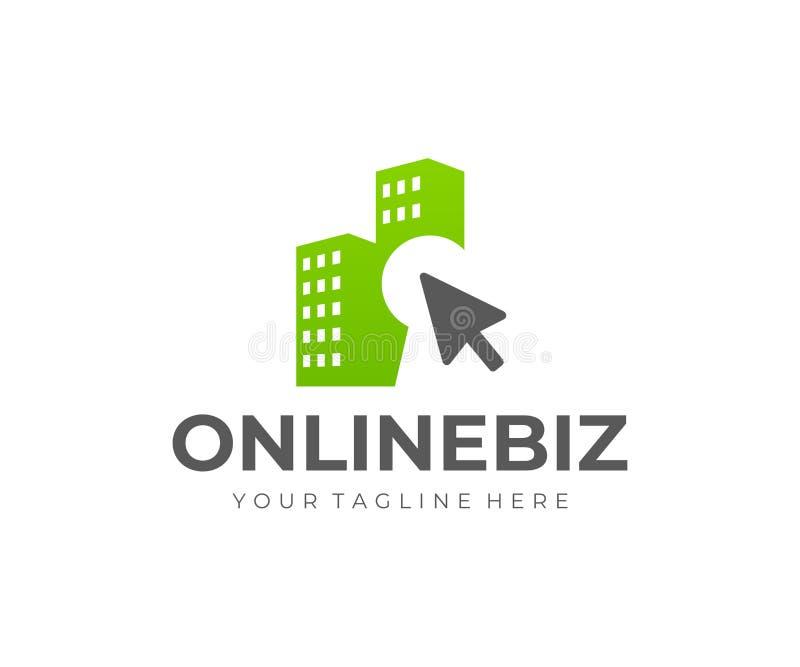 网上房租商标设计 销售的和买的物产网上传染媒介设计 向量例证