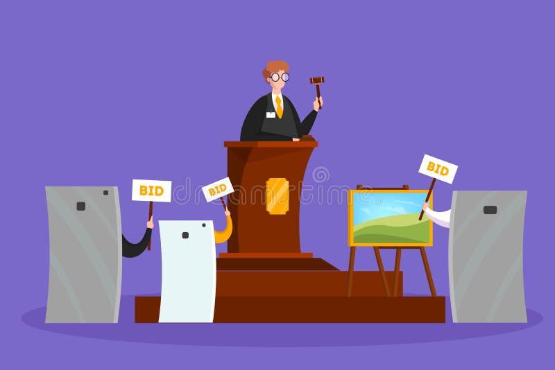 网上拍卖概念 采取在拍卖的行动通过设备 皇族释放例证