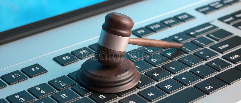 网上拍卖,在键盘,横幅,3d的法律惊堂木例证 皇族释放例证