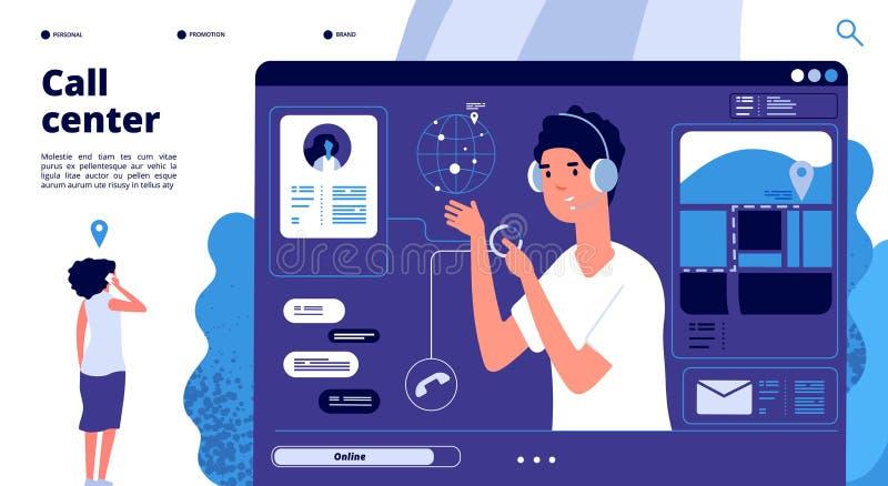 网上支持概念 电话中心闲谈的顾客与操作员,顾问帮助客户 24x7支持传染媒介 库存例证
