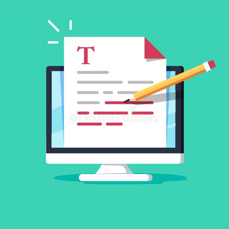 网上教育、创造性的文字和讲故事, copywriting的概念,编辑文本文件,遥远学会 皇族释放例证