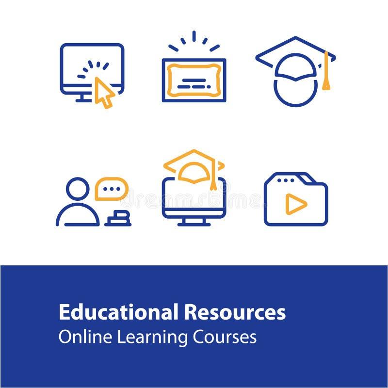 网上教育概念线象,学会路线,遥远学习的互联网 向量例证