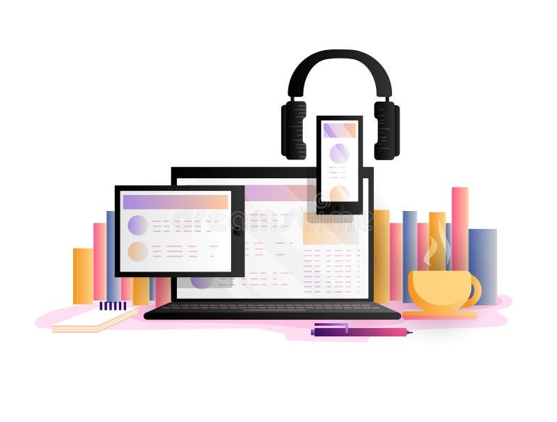 网上教育概念,传染媒介例证 研究,在网上学会与膝上型计算机、片剂、智能手机和耳机 向量例证